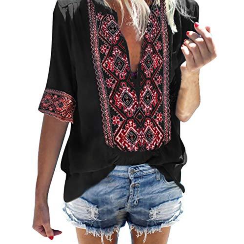 Innerternet Bluse Damen Kurzarm Boho V-Ausschnitt Oberteil Tops Chiffon Damen Sommer Carmen Shirt Rundhals Einfarbig Loslassen Plus Größe Sommer Tunika Hemd Bluse