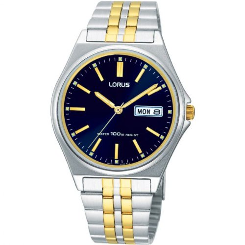 Lorus Mens Two Tone Blue Dial Quartz RXN27BX9
