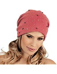 f529357282383b Stylish Pink Beanie Hat Malika - Warm Ladies Winter Wool Hat Woolmark  Quality