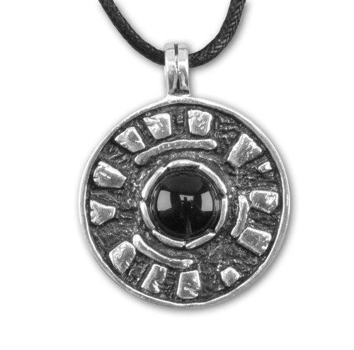 Amulett Stonehenge 925er Sterling Silber mit Onyx inkl Lederband