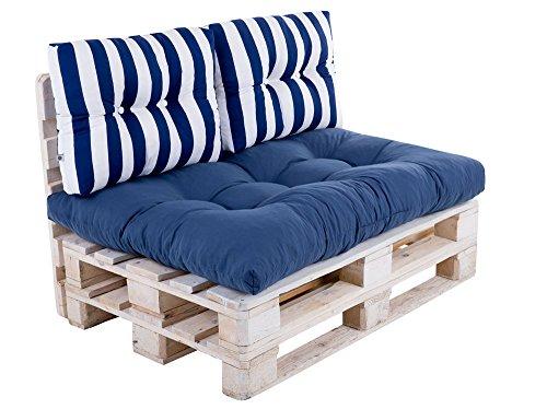 Dajar TERMI Palettenkissen-Set L051-21PB Patio, Weiß/Blau, 120x80x12 cm