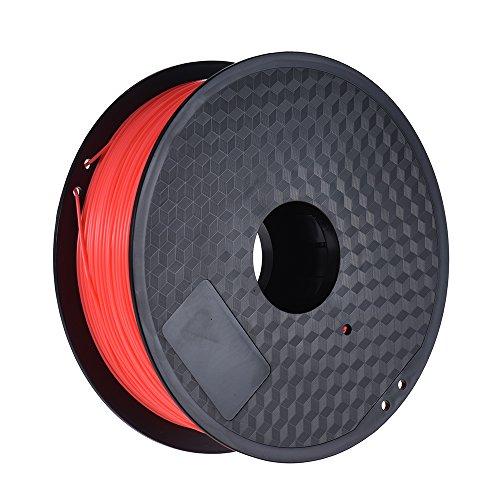 Aibecy Couleur Facultatif Filtre PLA 1kg / Rouleau 2.2lb 1.75mm pour MakerBot Anet RepRap Imprimante 3D Pen Fluo-Rouge