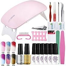 Sexy Mix UV Nagellack Gel Thermo farbwechsel Starter Kit Set UV LED Lampe Nagellacktrockner mit top coat base coat und 6 Farben