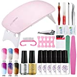Sexy Mix UV Nagellack Gel Starter Kit Set UV LED Lampe Nagellacktrockner mit top coat base coat und 6 Farben