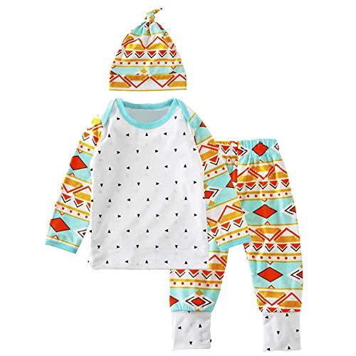 Neugeborene Babybekleidung 3Pcs Baby Kid Girl Boy Set Clothes Baumwolle Mädchenbekleidung Babyausstattung T-Shirt Top+Geometry Print Pants Cap Outfits Felicove