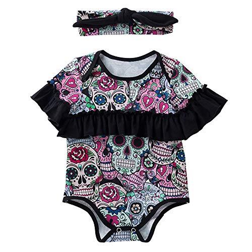 (Yesmile Kinder Halloween Kleidung Rüsche Bodysuit Kleinkind Kinderbaby Mädchen Jungen Knochen Playsuit Pyjama Kleidung)