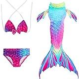 Costume da Bagno per Bambina 3pcs Mermaid Tail Princess Vest Swimwear Bikini con Pinna, Shark Costume Cosplay Can Match Monopalme Rainbow-1 130 cm(6-7 Anni)