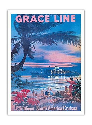Karibik, Südamerika Kreuzfahrten - Gnade Linie - Vintage Retro Dampfschiff Kreuzschiff Reise Plakat Poster von C. G. Evers c.1958 - Premium 290gsm Giclée Kunstdruck - 30.5cm x 41cm -