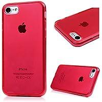 iPhone 7 Custodia Morbido Silicone TPU Gel Ultra Slim Cover - MAXFE.CO Case Silicone TPU Shock-Absorption Bumper,Ultra Sottile Anti Slip,rosso