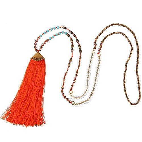Bohemian Türkis Kristall Perlen Halskette Damen Lange Kette mit Quaste Anhänger - Orange ()