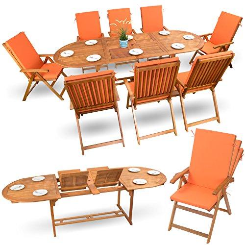 17-tlg Holz Sitzgruppe Essgarnitur Holz Gartenmöbel Set Holzmöbel Sitzgarnitur Akazie geölt # 8x verstellbarer Klappstuhl # 1x ausziehbarer Klapptisch # 8x Sitz Auflagen # orange