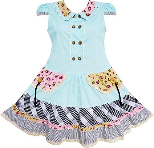 Niedlich Bunt Kragen Zurück Schule Uniform Gr.140-146 (Schule Mädchen Kleider)