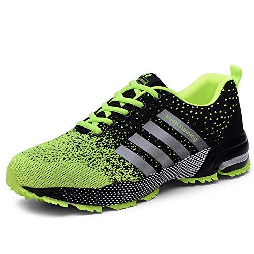 SOLLOMENSI Homme Femme Chaussures de Course Running Compétition Sport Trail Entraînement Basket Cinq Couleurs Casual 46 EU A1 Vert