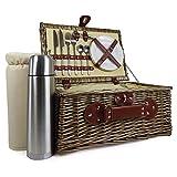 2Personen Picknickkorb mit integriertem Kühlfach inkl. Luxus Edelstahl Besteck & Fläschchen –-Ideen für Weihnachten Geschenke, Geburtstag, Hochzeit, Jubiläum und Corporate