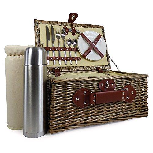 2Personen Picknickkorb mit integriertem Kühlfach inkl. Luxus Edelstahl Besteck & Fläschchen --Ideen für Weihnachten Geschenke, Geburtstag, Hochzeit, Jubiläum und Corporate