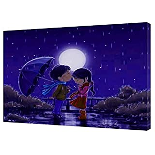 NEW CARTOONS UNDER MOON ROMANCE PHOTO PICTURE PRINT ON WOOD FRAMED CANVAS PICTURE WALL ART HOME DECORATION 40 x 30 inch-38mm depth