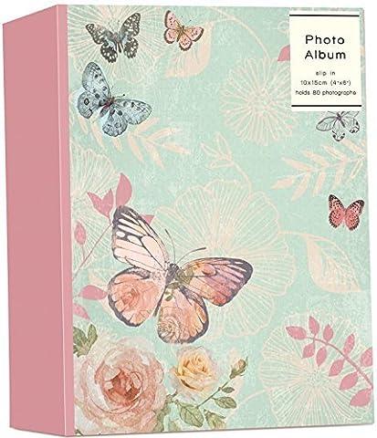 Butterfly & Rose Design Slip In Photo Album Holds 80