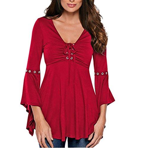 Bluse Damen Elegant Große Größen OVERMAL Damen Flare Hülse V-Ausschnitt Bluse Fashion Tops Blusentops Langarmshirts Für Office Lady (M, Rot)