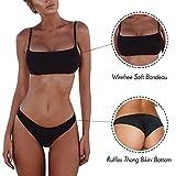 Costume da Bagno Donna Due Pezzi Costumi da Mare Swimwear Push Up Bikini Sexy da Donna Nero S