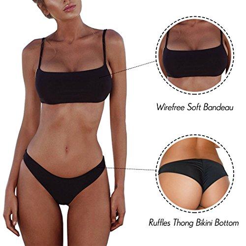 Summer Mae Damen Sexy Bikini Set Bustier Zweiteile Push-Up Bademode Schwarz M -