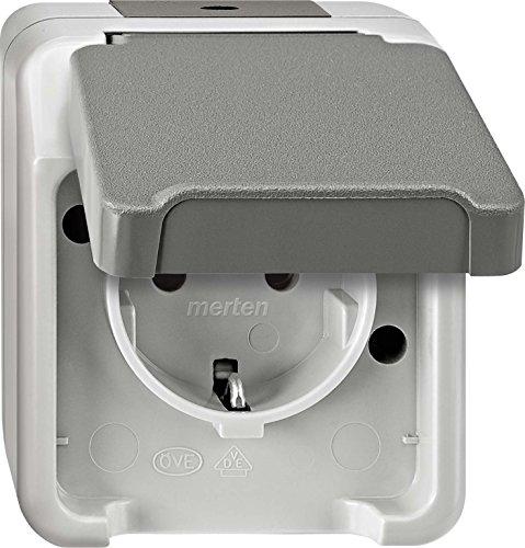Preisvergleich Produktbild Merten Steckdose 1 F mit Deckel, MEG2301-8029