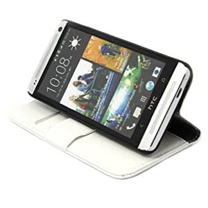 HTC One M7 Model Leather Wallet Case Flip Cover Built In Card Holders +2 Free Screen Protectors