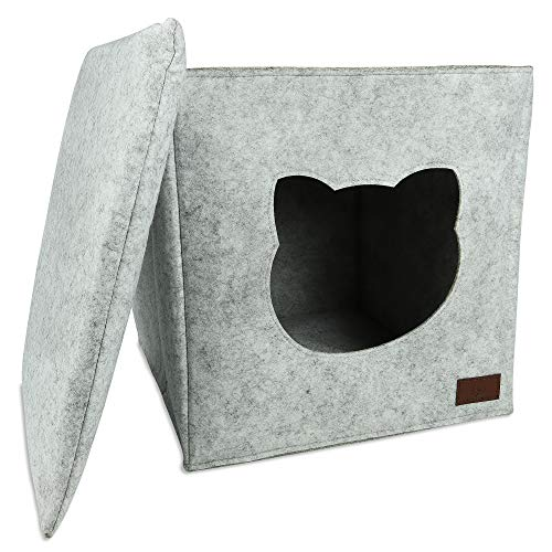 LLO Katzenhöhle mit Katzenkissen passend für Kallax und Expedit ... (Grau)