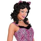 Rosa Leoparden Ohren mit Strass Leo Haarreif mit Federn Süße Leopardenohren Lady Tierohren Panther Haarreifen Sexy Katzenohren Kostüm Accessoire Damen