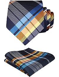 HISDERN Verifier Cravate de mariage Mouchoir Pour des hommes Cravate & Carre de poche Set