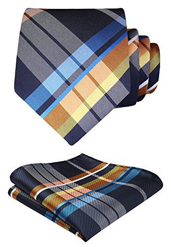 Hisdern Herren Krawatte Taschentuch Check Krawatte & Einstecktuch Set Blau & Orange