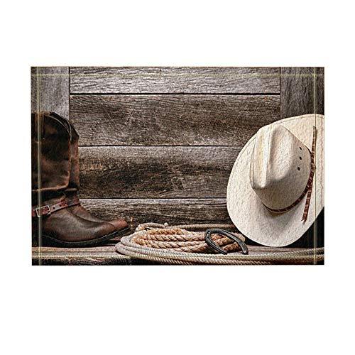 JoneAJ Western Dekor Cowboy-Hut Stiefel und Seil gegen Retro Holzbrett Badteppiche Rutschfeste Fußmatte Bodeneingänge Indoor-Türmatte vorne Kinder Badematte 15.7x23.6in Bad-Accessoires