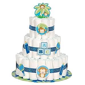 Kit para hacer tarta de Pañales para bebé Niño, con diseño de Mono, 25unidades