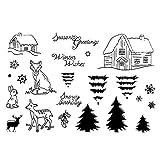 Hergon Joyeux Noël DIY Silicone Clear Stamp Cling Seal Scrapbook Gaufrage Album Décor Mini Tampons Transparents Clairs Scrapbooking DIY Loisirs Décoration Cadeau pour Enfant