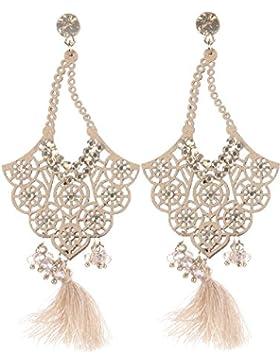 Schmuckanthony Boho Hippie Ethno Chic Lange Ohrringe Wildleder Perlen Kristalle Quasten Gold Honig Beige Natur