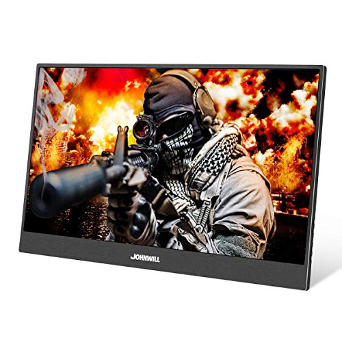 JOHNWILL 15,6 Zoll Typ-C Tragbarer Gaming Monitor, Ultra HD 1920 x 1080 IPS-LCD/LED-Anzeige, HDMI/Zwei Typ C (USB C) Zwei USB-Schnittstellen,Spielmonitor -