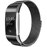 Milanaise Boucle en acier inoxydable Bracelet de montre bracelet de remplacement de sangles pour Fitbit Charge HR 2