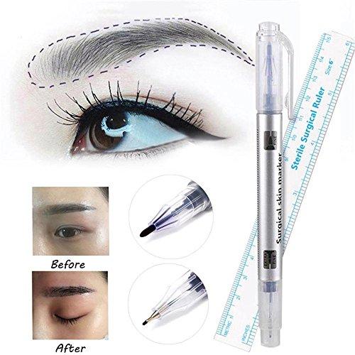 Hautmarkierungsstift Microblading Tattoo Augenbraue Hautmarkierungsstift Mit Maß Messlineal 2 Teile/paket -