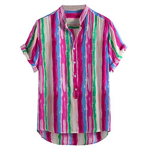 BHYDRY Herren Baumwolle gedruckt Hawaii Stehkragen Kurzarm lose Shirts(Large,Pink