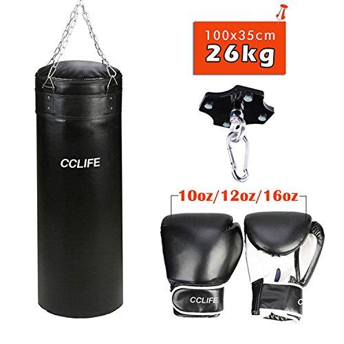 CCLIFE Boxsack gefüllt 26kg 100x35cm mit Deckenhalterung&Boxhandschuhe 10oz/12oz/16oz, Größe:12oz Set