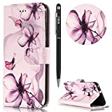 Huawei P10 Lite Handyhülle,Huawei P10 Lite Hülle,WIWJ PU Cover Case Leder Flip Wallet Schutzhülle[Gemalt Marmor Halterung Fun