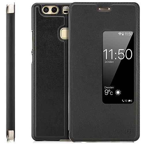 zanasta Tasche kompatibel mit Huawei P9 Plus Case Schutzhülle Flip View Cover mit Fenster und Kameraschutz Schwarz