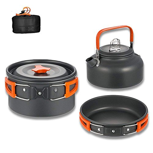 Aitsite Camping Cookware Kit Outdoor Aluminum Lightweight Camping Pot Pan Cooking Set for Camping Hiking (Orange)