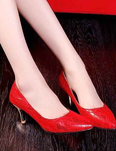 WSS 2016 Chaussures Femme-Bureau & Travail / Habillé / Décontracté-Violet / Rouge-Talon Aiguille-Talons-Talons-Similicuir red-us3.5 / eu33 / uk1.5 / cn32