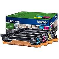 Brother TN243C/TN243M/TN243Y/TN243BK Toner Cartridges, Standard Yield, Brother Genuine Supplies, Cyan, Magenta, Yellow & Black, Multi Pack