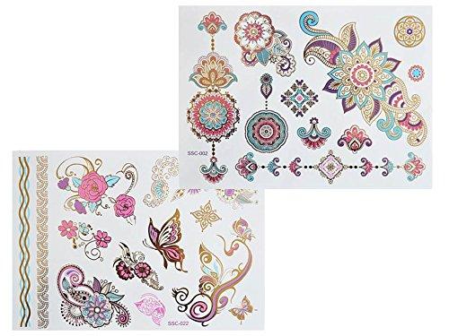 XL multicolores colorées métallique Tattoo sc02 022 Flash Tatouage Tattoo Mandala Papillons Henna Design Doré Rose Bleu Violet Fleurs Arc de colle - XL