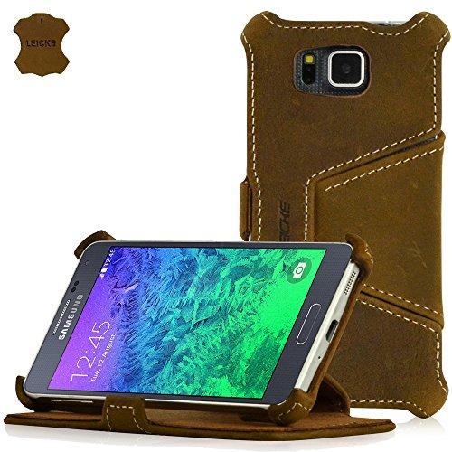 MANNA UltraSlim Samsung Galaxy Alpha 4.7 Zoll Hülle | Case aus Echtleder, Nubukleder, braun | Aufstellbare Tasche mit LEICKE EasyStand | Innenseite des Covers mit Microvlies gepolstert | Schutzhülle für Samsung Galaxy Alpha 4.7 Zoll SM-G850F