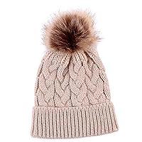 Jspoir Melodiz Baby Knit Hat, Kids Winter Cotton Warmer Cap Infant Beanie Ball Hat Cap Boys Girls (Beige)