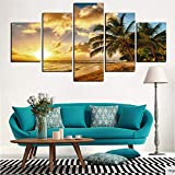 mmwin Canvas Wall Art Picture Modern Living Room 5 Pezzi Sunset Sea Beach Albero di Cocco Paesaggio Decor HD Stampa Poster