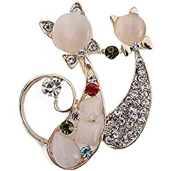 Nikgic 1pc Broche Retro de Doble Gato de Diamante de Pins de Gatito de Ropa (3x4 cm)