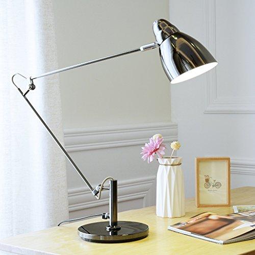 ZfgG Tischlampe Wohnzimmer Moderne Schlafzimmer Metall Lange Arm Falten LED Augenschutz Schreibtischlampe Taste Schalter (Farbe : 9W black)
